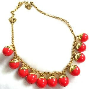 J Crew Red Chunky Beaded Necklace Goldtone